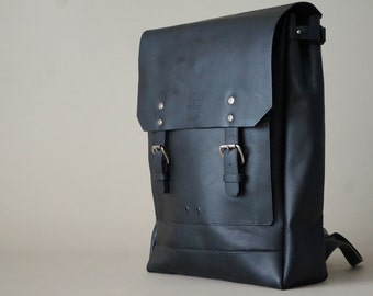 Classic Leather Backpack (Black)
