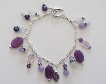 Purple Jade Charm Bracelet
