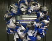 Blue Line, Police Lives Matter, Back the Blue, Support the Police Blue, Silver Deco Mesh Wreath