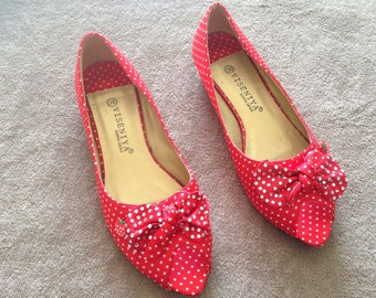 Red and white polka dot customised flats size 5uk EUR38 retro 50's rockabilly