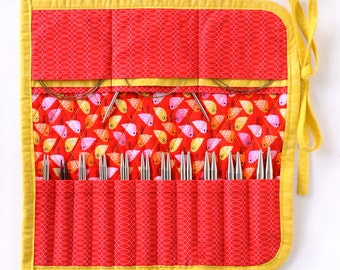Interchangeable Knitting Needle Case 2016 edition - Red and Yellow