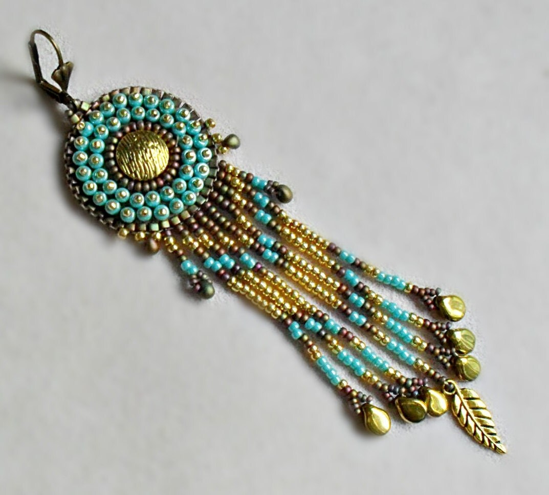 Bead Embroidery Earring Chandelier Earring Spectacular