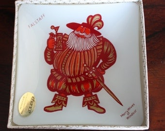 Rare Kenneth Townsend Shakespeare 'Falstaff' Glass Tray for Chance Glass