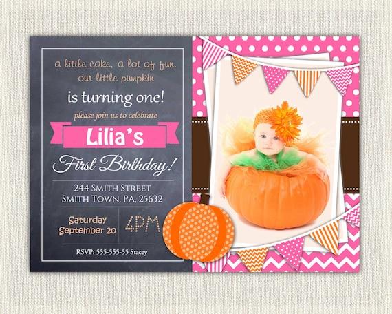 Girls 1st Birthday Invitation Pink Chalkboard Little Pumpkin