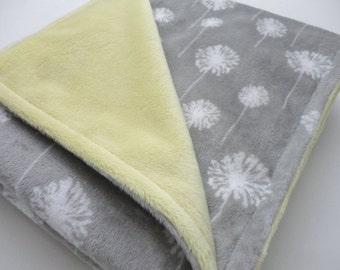 Clearance! Dandilion Minky Baby Blanket - Ready to Ship
