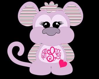 Monkey monogram decal