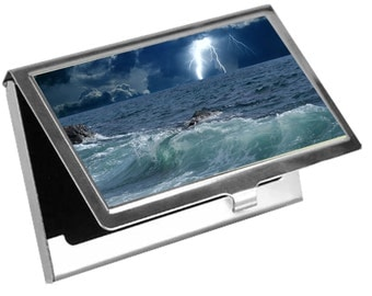 Custom, Personalized Business Card Holder - Waves - Free Standard Shipping
