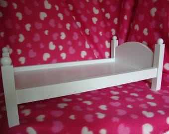 18 inch Doll Bed Made of Solid Pine  with Hardboard Bottom, Painted White/4 Poster Doll Bed/Built to Last