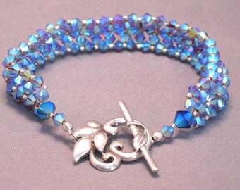 Crystal Lavender Blue  and Sterling Silver Bling Bracelet
