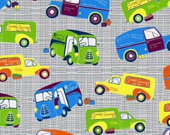 Patchwork Quilting Fabric Jane Makower Imprint Grocery Vans Grey 6783 S35