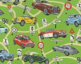 Patchwork Quilting Fabric Nutex British Cars Allover