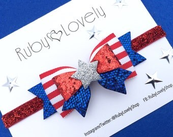 Baby/Girls 4th July Headband Clip, Memorial Day Hair Bow, Red White and Blue Bow, Patriotic Headband,  Independence Bow