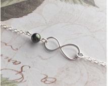 Dark Green Infinity Anklet - Infinity Charm Anklet - Sister Anklet - Sister by Chance Friends by Choice - Custom Swarovski Pearl