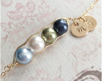 Personalized 4 Peas in a Pod Necklace - Hand Stamped Initial Necklace - Mom Necklace - Wire Wrapped Gold Necklace - Two Discs - Two Initials