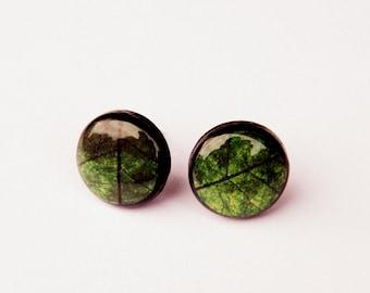 Green leaf stud earrings, Green earrings, Leaf jewelry, Stud earrings, Tiny earrings, Green earrings, Leaf earrings, Christmas gift