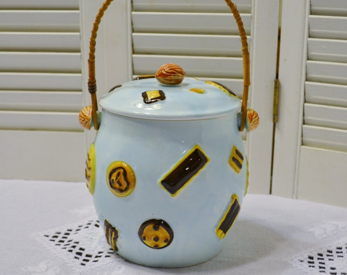 Vintage Cookie Jar with Lid Aqua Blue Sweet Design Bamboo Handle Japan Panchosporch