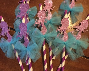 Mermaid paper straws ( Set of 10 )