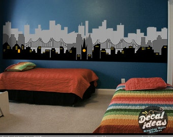 Superhero city wall decal