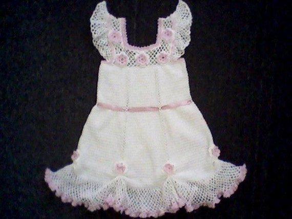 Hand Knitted Dress Patterns : Hand made knitted dress for girl