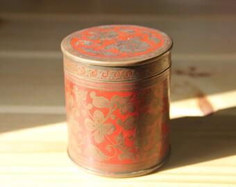 Vintage Brass & Red Enamel Trinket Container