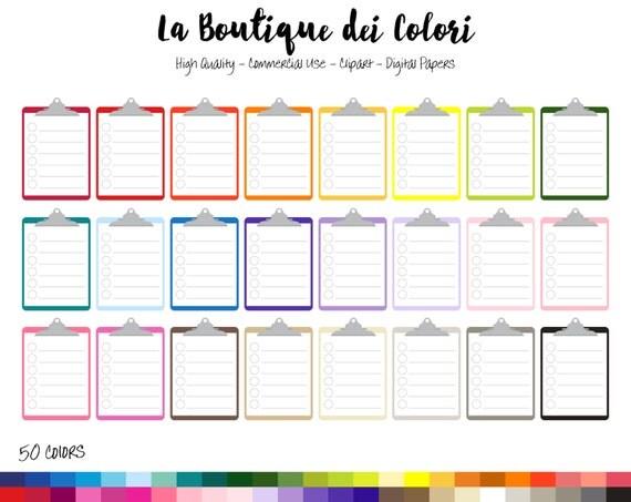 50 Rainbow Lined Clipboard Clip art, Digital illustrations PNG ...