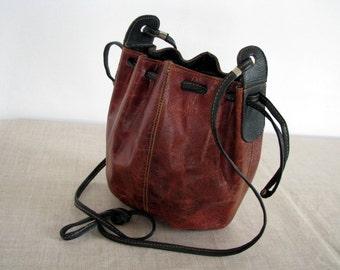 Scandinavian Vintage brown leather crossbody bag foxy brown crossbody satchel brown leather shoulder bag leather handbag bohemian hobo bag