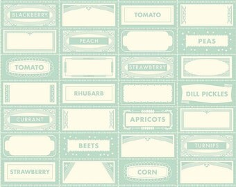 Farm Girl Canning Labels Teal by October Afternoon for Riley Blake, 1/2 yard, C5023-Teal