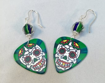 Sugar Skull Earrings, Day of the Dead, Guitar Pick Earrings, Skull Earrings, Sugar Skull Jewelry, Skull Jewelry, Dia de Los Muertos