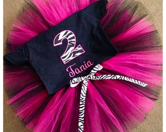 Zebra inspired birthday tutu outfit, personalized