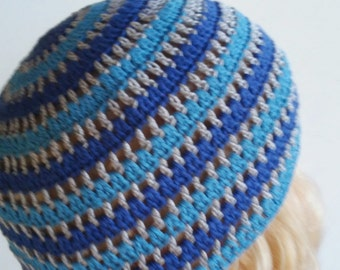 Crocheted blue gray  Mixed Color Beanie Hat, summer hat Hand Crocheted Hat Womens Hat striped hat Hat striped  beanie