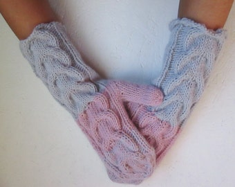 Fingerless gloves, Knitted gray pink mustard gray Fingerless long fingerless with Cable Woman   Arm Warmers, knitt mittens winter accessory