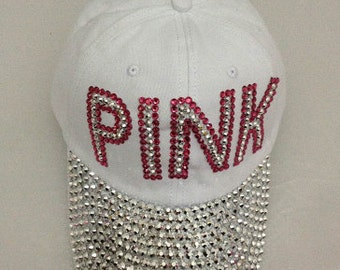 White trimmed in Pink Rhinestud Cap