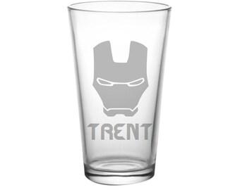 Iron Man Pint Glass - PERSONALIZED Iron Man Glass - Iron Man Bar Glass - Iron Man Beer Glass - Etched Iron Man