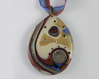 Polymer Clay Pendant Green River