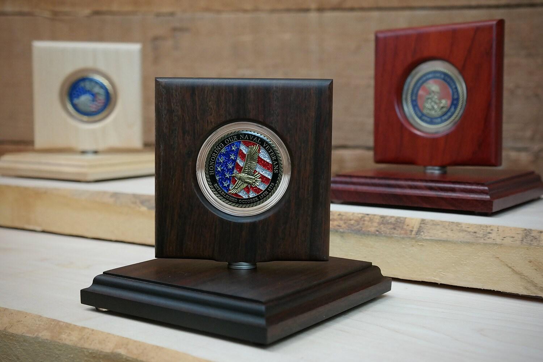 Military Challenge Coin Rotating Display Natural Ipe Wood