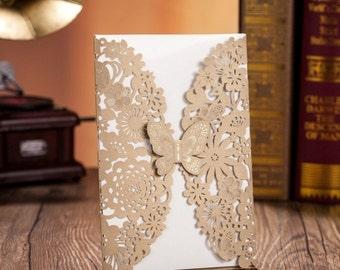 Gold Butterfly Laser Cut Wedding Bridal Invitation Card (Customize)
