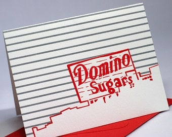 Baltimore Letterpress Card | Domino Sugars Sign | red & gray cards | package of 4 cards with envelopes