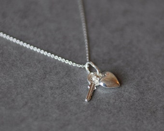 Silver Heart and Kye Necklace - Sterling Silver [SN1012]