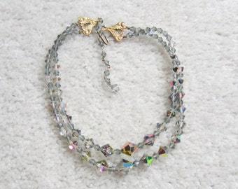 Vintage 1950s Two Strand Austrian Crystal AB Beaded Necklace Bridal Formal Retro 17''