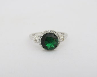 Vintage Sterling Silver Emerald & White Topaz Halo Ring Size 9