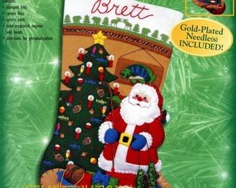 """Bucilla Santa's Lodge ~ 18"""" Felt Christmas Stocking Kit #84261, Fishing, Cabin DIY"""