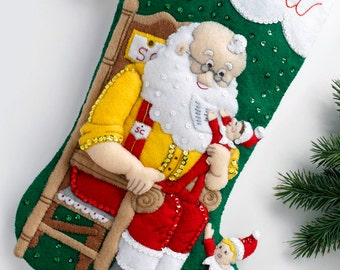 "Santa & Scout Elf  Bucilla 18"" Felt Christmas Stocking Kit #86509 DIY"