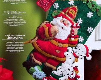 "Bucilla ~ Fireman Santa ~ 18"" Felt Christmas Stocking Kit #86107, Fire Truck, Dog DIY"