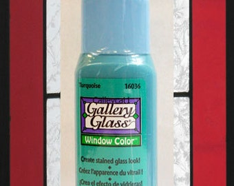 Plaid Gallery Glass Paint 16036 - 2 oz. Turquoise ~ Create Stained Glass Look