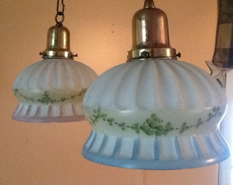 Vintage Antique Pair Matching Hand Painted Pendant Lights Bedroom Hallway