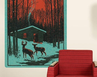 Deer Discovered Outside a Cabin Wall Decal - #60964