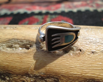 Native American Turquoise Bear Paw Ring Size 5.25
