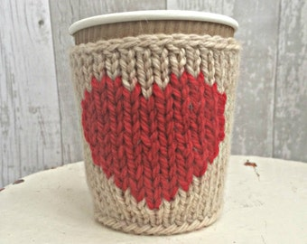 Knitted Cup Cosies, Knit Coffee Cup Cosy, Custom Colours, Gift for her, Eco Friendly Gifts, Gifts for Her Birthday, Gift for Wife
