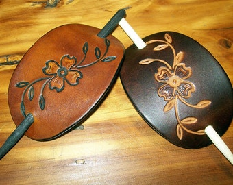 Dogwood Flower Medium Leather Stick Barrette