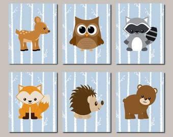WOODLAND Nursery WALL ART, Woodland Animals, Woodland Baby Shower, Woodland Nursery Decor Birch Tree Wall Art Set of 6 Prints Or Canvas